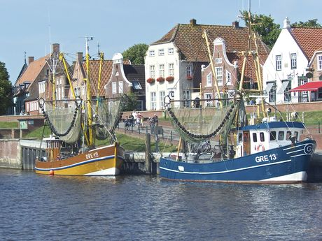 Harbour of Greetsiel with some ships