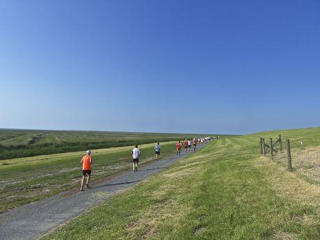 Läufer beim EWE Nordseelauf am Deich