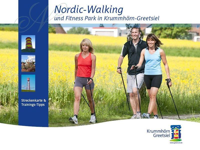 Titelbild Flyer und Prospekt Nordic Walking in Krummhörn-Greetsiel
